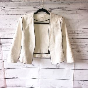 L'AGENCE Cotton/Silk Cream Open Blazer